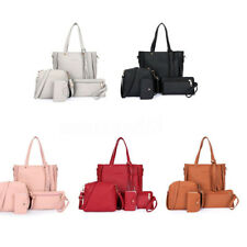 4pcs/set Women Girl PU Leather Handbag Shoulder Bag Tote Purse Satchel Messenger