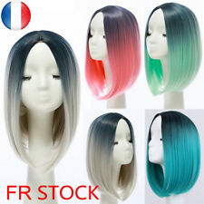 Heat Resistant Synthetic Lace Front Ombre Wigs Straight Bob Cosplay Wig Hair FR