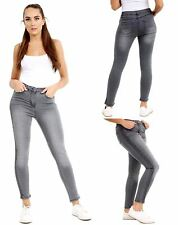 Ladies Womens Slim Fit Grey Jeans Side Studded Skinny Pocket Stretch Trouser