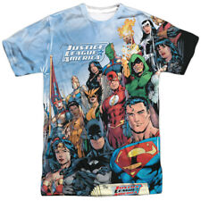 Justice League Justice League Of America Mens Sublimation Polyester Shirt WHITE