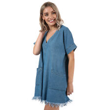 Womens Glamorous Raw Edge Chambray Dress In Mid Blue