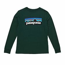 Patagonia Graphic Organic Boys T-shirt Long Sleeve - Micro Green All Sizes