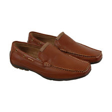 Steve Madden M-Teach Mens Brown Leather Casual Dress Slip On Loafers Shoes