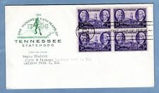 1946 #941 3c Tennessee Statehood 150 years, Blk/4 Farnam cachet Addressed FDC