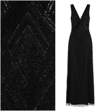 Frock and Frill Teona 1920's Gown Art Deco Maxi Dress Black Embellished UK 12 14