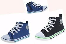 BOYS LEATHER INSOLES ZIP TRAINERS CANVAS HIGH TOP SCHOOL PLIMSOLLS SPORT SHOES