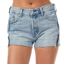 Womens Levi's 501 Altered Zip Shorts In Misted Indigo