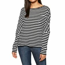 O Neill Essential Striped Womens T-shirt Long Sleeve - Black White All Sizes