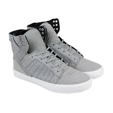 Supra Skytop Mens Gray Leather & Suede High Top Lace Up Sneakers Shoes