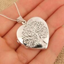 Large 925 Sterling Silver Tree of Life Heart Photo Locket Pendant Necklace