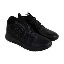 Supra Reason Mens Black Leather High Top Lace Up Sneakers Shoes