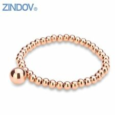 Trendy Rose Rold Gold Silver Stainless Steel Handmade Cute Beaded Stretch Charm