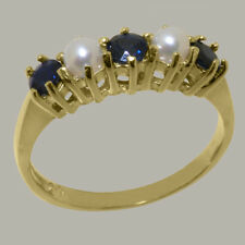 14ct Yellow Gold Natural Sapphire & Pearl Womens Eternity Ring - Sizes J to Z