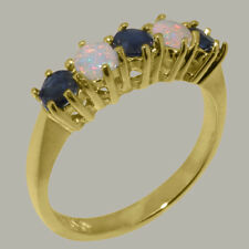 14ct Yellow Gold Natural Sapphire & Opal Womens Eternity Ring - Sizes J to Z