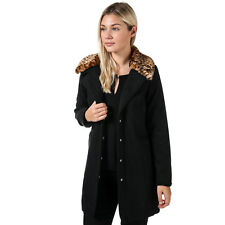 Womens Brave Soul Jacket With Faux Leopard Collar In Black