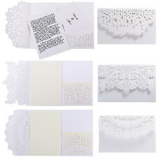 Wedding Invitations Cards With Envelope 10PCS European Style Laser Cut Tri-Fold