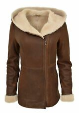 Women's 100% Real Shearling Flight Aviator RAF  Bomber Sheepskin Leather Jacket