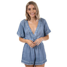 Womens Glamorous Crossover Playsuit In Denim