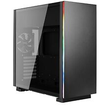 NEW! Aerocool Glo Mid Tower 2 X Usb 3.0 Tempered Glass Side Window Panel Black C