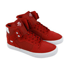 Supra Vaider Mens Red Suede High Top Lace Up Sneakers Shoes
