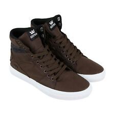 Supra Aluminum Mens Brown Canvas High Top Lace Up Sneakers Shoes