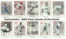 2002 Fleer Greats of the Game Baseball Set ** Pick Your Team **