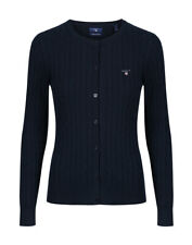 Gant Stretch Cotton Cable Crew Womens Jumper Cardigan - Evening Blue All Sizes