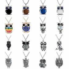 Vintage Owl Glass Crystal Pendant Necklace Chain Women Sweater Chain Jewelry HOT