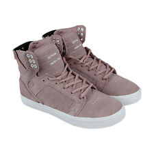 Supra Skytop Mens Pink Suede High Top Lace Up Sneakers Shoes