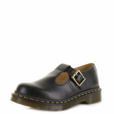 fb3e68d2 Dr Martens Polley Black Smooth Leather Mary Jane Buckle Work Casual Shoes