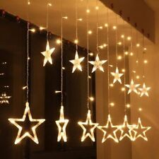 Star Shaped Led Lights String Curtain Window Bedroom Xmas Christmas Fairy Lamp