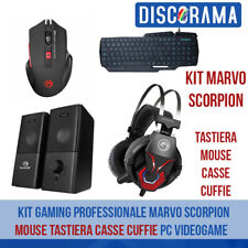 KIT GAMING MOUSE TASTIERA CASSE CUFFIE MARVO SCORPION PC VIDEOGAME PROFESSIONALE