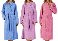 Slenderella Ladies Floral Embossed Dressing Gown Soft Fleece Wrap Bath Robe