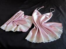 Satin Cami + French Knickers Set Lacy Pink Sleep Set Camisole PJs All Sizes