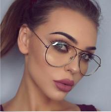 CLASSIC VINTAGE RETRO Aviator Transparent Sunglasses Clear Lens Glasses Pilot