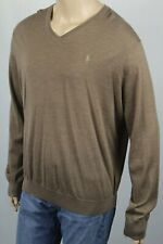 Polo Ralph Lauren Brown Washable Merino Wool V-Neck Sweater Tan Pony NWT