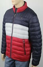Tommy Hilfiger Navy Blue Red Ultra Loft Puffer Packable Coat NWT $195