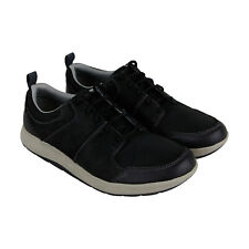 Clarks Shoda Stride Mens Black Leather Low Top Lace Up Sneakers Shoes