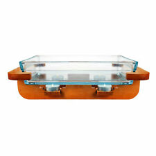 Clear Glass Chafing Dish with Wooden Warmer Stand | Oven Dish | Serving Platter