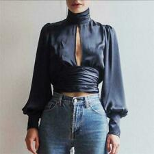 Backless Blouse Satin Long Sleeves Hollow Out Women Turtleneck Polyester Tops