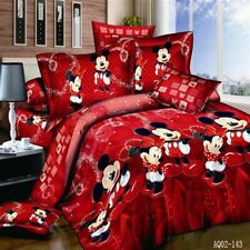 100% Cotton Red Color Mickey Mouse Quilt/Duvet Cover Flat Sheet Twin Full Queen