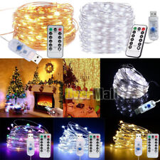 Lots 10M 100LED 8Modes USB Copper Wire String Twinkle Light w/ Remote Xmas Decor