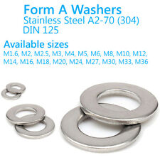 M 2 3 4 5 6 8 10 12 14 16 18 20 24 27 30 33 36 mm FORM A FLAT WASHERS STAINLESS