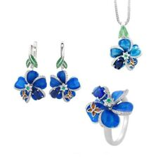 Exquisite 925 Silver Enamel Floral Pendant Necklace Earrings Ring Jewelry Set
