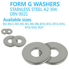 M 2 3 4 5 6 8 10 12 14 16 18 20 24 mm FORM G WIDE THICK FLAT WASHERS STAINLESS
