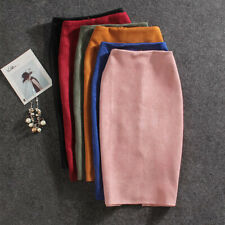 Women Skirts Suede Split Thick Stretchy Skirt Quality Female Pencil Skirts Plus