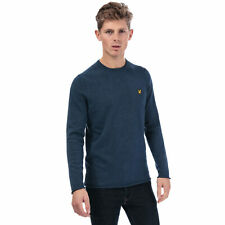 Mens Lyle And Scott Rolled Hem Jumper In Navy Marl- Crew Neck