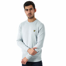 Mens Lyle And Scott Crew Neck Cotton Merino Jumper In Grey Blue