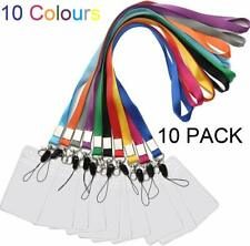 Durable ID Name Tag Badge Card Case Holder Keychain Neck Lanyard Straps, 10 Pcs