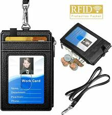 Durable ID Name Tag Badge Card Case Holder Keychain Neck Lanyard Straps